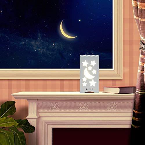 OxyLED Luce Notturna LED per Bambini,Lampade da tavolo per la cameretta,Lampada da comodino Luce del sonno Moon e Star Shaped,per Stanza dei Bambini,Camera da Letto,Bagno,Corridoio,Armadio - 1