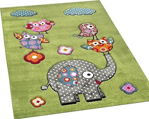 Paco Home Tappeto per Bambini con Elefante Gufi Fiori Amici Animali Verde Rosso Grigio Blu, Dimensione:80x150 cm - 1