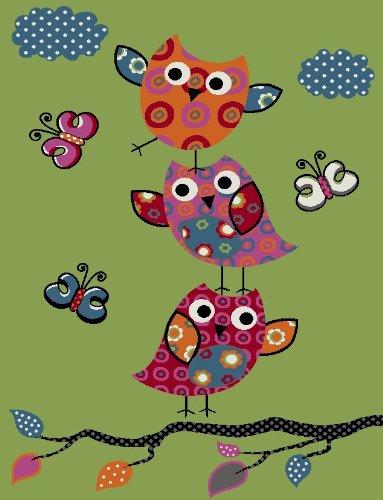 Paco Home Tappeto per Bambini con Gufetti su Rami nei Verde Arancione Crema Blu Rosso, Dimensione:80x150 cm - 1