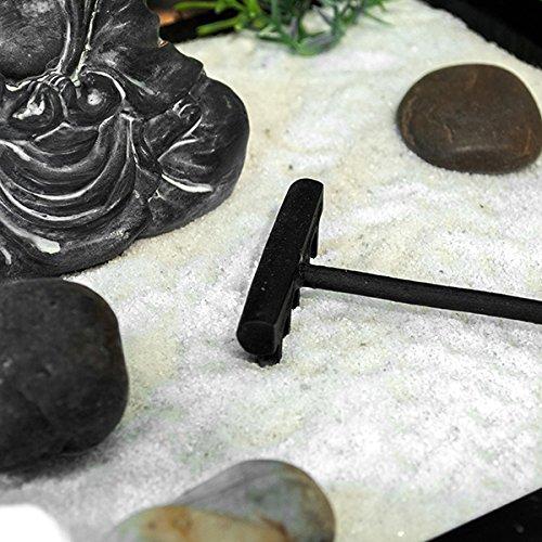 Pajoma Gong - Giardino zen con gong, statua del Buddha e lumino, colore: Nero/Vari colori - 1