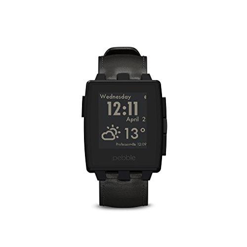 Pebble Steel Smartwatch con Cassa Acciaio, Cinturino Pelle, Nero - 1