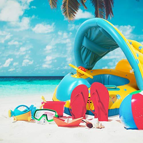 Peradix Barca per Bebè gonfiabili,Piscina Baby Salvagente Bambini Float con Parasole (Blu Giallo) - 1