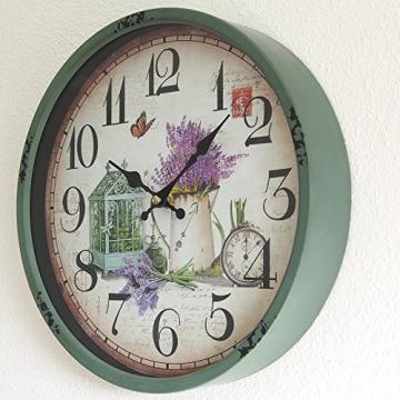 Perla pd design, Orologio da parete, in metallo con quadrante in vetro, design vintage, bianco anticato laccato, diametro circa 30 cm, Metallo, Frühlingsgarten - 2