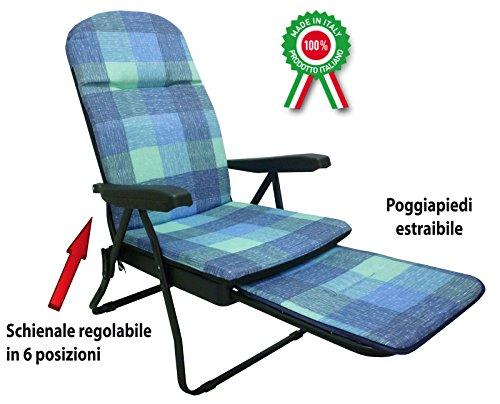 Poltrona sedia sdraio in metallo imbottita con poggiapiedi per casa prendisole - 1
