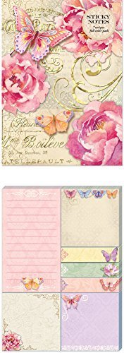 Punch studio Butterfly Script Sticky notes Pad portfolio by punch studio - 1