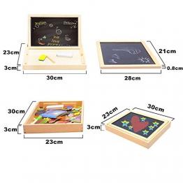 Puzzle Magnetico Legno, COOLJOY Giocattolo di Legno Bambini con Lavagna a Double Face , Apprendimento Educativo Bambini 3 anni 4 anni 5 anni - quasi 100 Pezzi - può Attaccare sul Frigorifero(Animale) - 1
