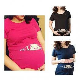 Q.KIM Premaman Divertenti Baby Magliette Premaman Stampa Divertente Tops T-shirt Gravidanza Donna I'm coming ,Blu S - 1