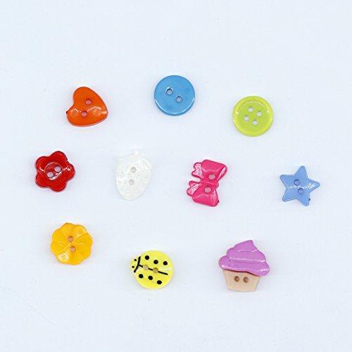 QH-Shop Bottoni Caramella Colori Cucito Bottoni in Resina con Scatola di Plastica per Il Mestiere di Cucito Scrapbooking e Fai Da Te a Mano Ornamento 235 Pezzi - 1