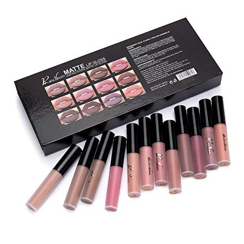Rechoo 12Pcs Rossetto Matte Liquido Tinta Labbra a Lunga Tenuta,Rossetti Matt Impermeabile Liquid Lipstick Make Up Set - 1