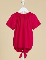RED WAGON Camicia Colorata con Nodo Bambina, Rosa (Virtual Pink), 140 (Taglia Produttore: 10 Anni) - 1
