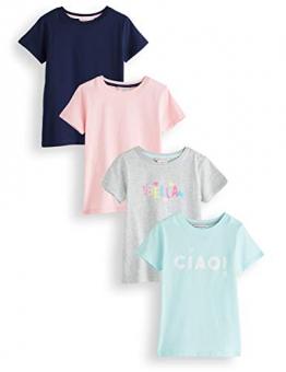 RED WAGON Slogan T-Shirt Bambina, Multicolore (Multicolour),104, Pacco da 4 - 1