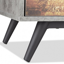 Relaxdays Mobiletto vintage 4 cassetti cassettiera originale effetto cemento tiretti con motivo HLP: 68x60x40 cm, grigio - 1