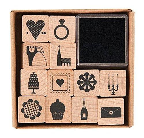 Rico - Set di stampini, 12 pezzi, motivo matrimonio 20 x 20 mm - 1
