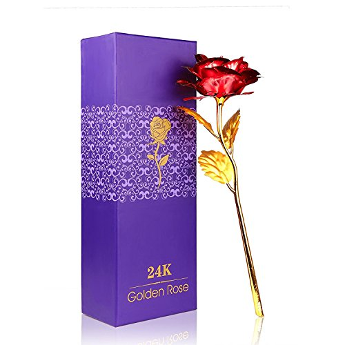 Rosa 24 K placcato oro rosa fiore con confezione regalo migliore regalo per San Valentino, festa della mamma Natale compleanno d' oro/rosso/viola/blu (Red) - 1