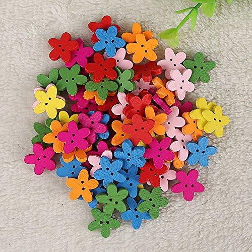 ROSENICE - 100 bottoni in legno a forma di fiore per lavori di sartoria e fai-da-te - 1