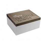 Scatola in legno con coperchio pieghevole, 22 x 18 x 10 cm, marrone/bianco, stile shabby chic, scatola in legno - 1