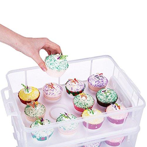 Scatole Per Torta per Cupcake a 2piani, chiusura a scatto regolabile e piani impilabili, colore bianco - 1
