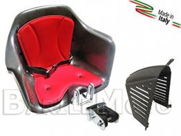 Seggiolino Anteriore Bici Attacco Manubrio Nero / Rosso + Protezione HTP MILU' - 1