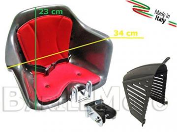 Seggiolino Anteriore Bici Attacco Manubrio Nero / Rosso + Protezione HTP MILU' - 4