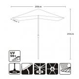 Sekey® 200 × 150 cm Ombrellone in Legno Ombrello Parasole da Esterno da Giardino Taupe Protezione Solare UV50+ - 1