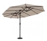 Sekey® Ombrello con Doppio Top in Ombrello Parasole da Esterno da Giardino Ø 460 cm x 270 cm Protezione Solare UV50+ Taupe - 1