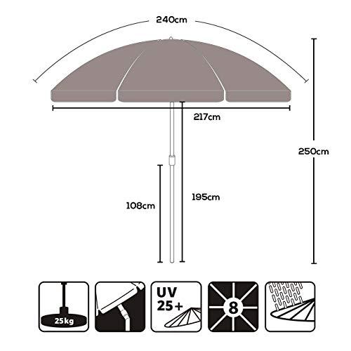 Sekey® Ombrellone Ø 240 cm Tondo Ombrello Parasole da Esterno da Giardino da Spiaggia Taupe Protezione Solare UV25+ - 1