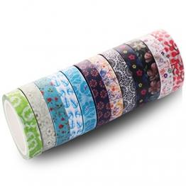 Set di 48rotoli di nastri Washi Tape, da8mm di larghezza, colorati e con motivi floreali, nastro adesivo per mascheratura decorativa, per lavori fai da te di scrapbooking e confezioni regalo - 1