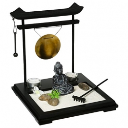 Set giardino ZEN - Buddha su vassoio in legno con gong, portacandele, fiori e piante, sabbia e ciottoli ecc... - 1