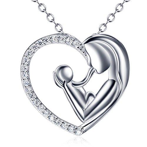 Silver Mountain L'amore della madre Cuore Collana Pendente con Catena 45cm - 1