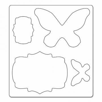 Sizzix - Fustelle a forma di etichette e farfalle, serie Bigz, di Karen Burniston, colori vari - 1