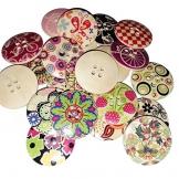 SODIAL 25pz 3cm 4 fori bottoni in legno colorati per cucire Scrapbooking decorazione DIY - 1