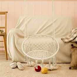 SOULONG – Sedia sospesa con Cuscino Rotondo per Seduta, Beige – Dondolo sospeso, è Tessuto con Corda di Cotone, Poltrona sospesa da Appendere, Portata Max. 150 kg - 1