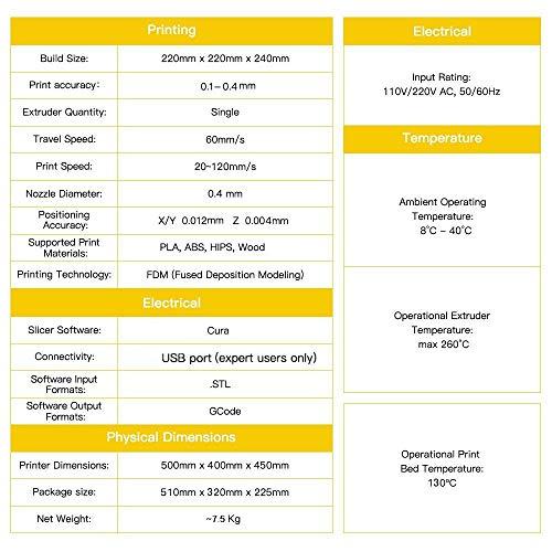 Stampante 3D A8 Prusa I3 Desktop Stampante 3D , Stampa ad alta Precisione e veloce di modelli 3D (120 mm / s), Stampante con ABS / PLA 1,75 mm ( Stampante 3D A8)-Win-tinten - 1
