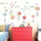Stickers da Parete Adesivi Muro Cameretta dei Bambini Con Coniglietti Decorazioni Camera da Letto Bimbi Soggiorno Asilo Nido Animali - 1
