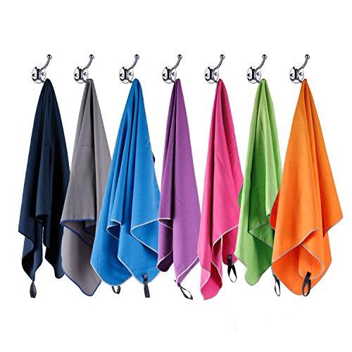 Syourself microfibra sport e viaggi towel-XL: 183cm x 81cm – asciugatura rapida, leggero, assorbente, morbido – perfetto per yoga fitness da spiaggia campeggio+borsa da viaggio e moschettone(Hot pink) - 1