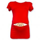 T Shirt Maglia Premaman Bimbo Che Esce dalla Zip Rossa S Manica Corta - 1