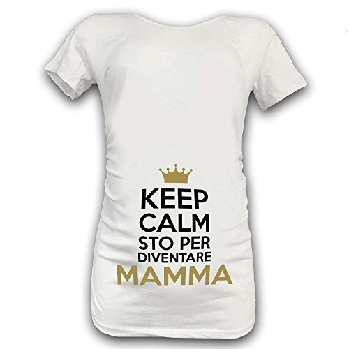 T Shirt Maglia Premaman Keep Calm STO per Diventare Mamma Bianca Bianca Grafica Oro M Manica Corta - 1