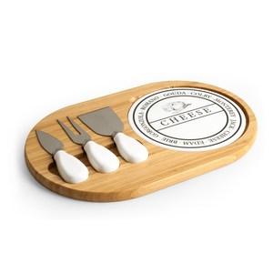 Tagliere formaggio con piatto in ceramica e 3 coltelli 23x31 cm