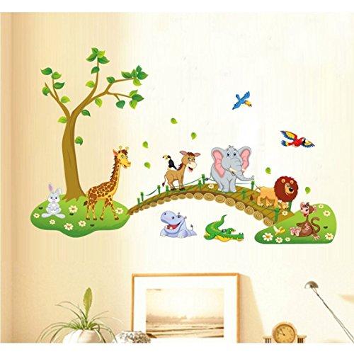 Tandi, adesivi da parete per cameretta dei bambini, motivo: fiori e animali della giungla, Vinile, Wild Animals, 140(W)X90(H) CM - 1