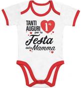 Tanti Auguri per la Prima Festa della Mamma Body Neonato Manica Corta 6-12 Mesi Rosso/Bianco - 1