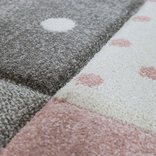 Tappeto per Bambini Colori Pastello Quadri Punti Cuori Stelle Bianco Grigio Rosa, Dimensione:120x170 cm - 1