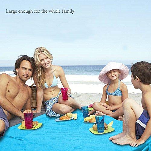 telo da spiaggia resistente alla sabbia, extra large 2m x 2.7m, dimensioni contenute una volta piegato all'interno della , lavabile in lavatrice, nylon ultra leggero e anti-strappo. Pesa solo 500g - 1
