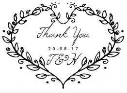 """Timbro in gomma tagliata al laser, personalizzabile, con scritta """"Thank you"""", per matrimoni Con decorazione a forma di cuore formata da rami di foglie. - 1"""