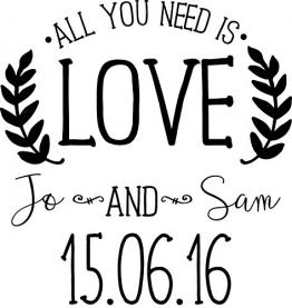 Timbro per matrimonio –All you need is Love (personalizzabile) - 1