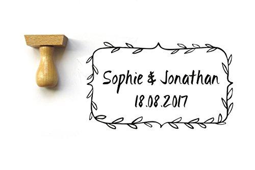 Timbro personalizzato fogliame, per matrimonio, con nomi e data, rettangolo - 1