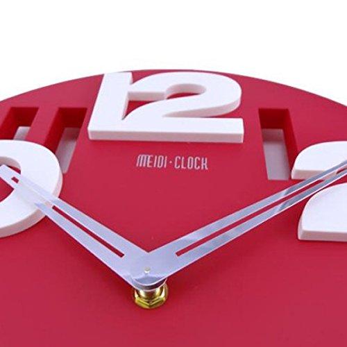 Tinksky NovitÀ Traforate 3D Grandi Cifre Cucina Home Office Decor Tondo Orologio Da Parete A Forma Di Orologio Art (Rosso) - 1