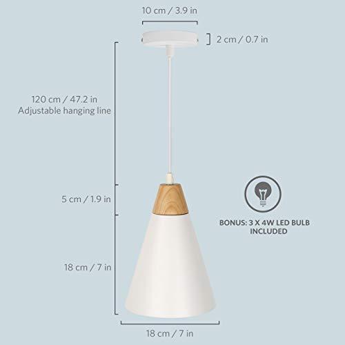 tomons Lampada a Sospensione LED Lampada a Soffitto Bianco set da 3 Scandinavo Moderno Stile per il Soggiorno in Sala da pranzo Ristorante - 1