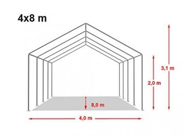 TOOLPORT Tendone per Feste 4x8 m PVC Beige-Bianco 100% Impermeabile Gazebo da Giardino Tendone da Esterno Tenda Party - 9