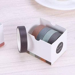 Toymytoy - Nastro adesivo in carta Washi per progetti fai-da-te di scrapbooking, per lavori artigianali in ufficio, per feste, colori casuali, 5 pezzi - 1