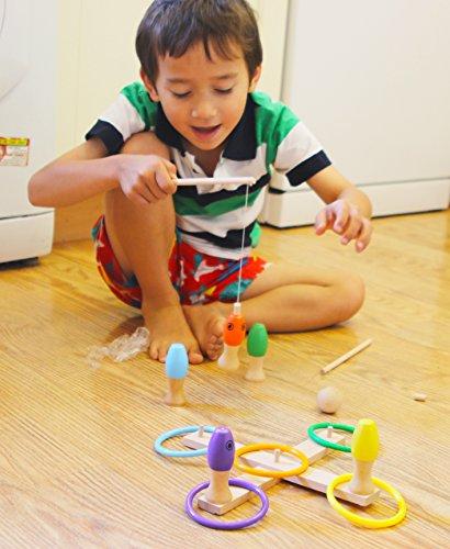 Toys of Wood Oxford Quoits di Legno - Gioco di Mira per Bambini con Lancio Ring, Pesca e Bowling - 3 Giochi Sportivi in 3 per 3 Anni - 1